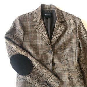BCBGMAXAZRIA Plaid Wool Suede Elbow Patch Blazer